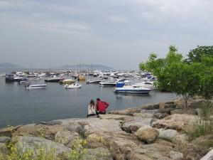 A couple relaxes facing the Marmara Sea