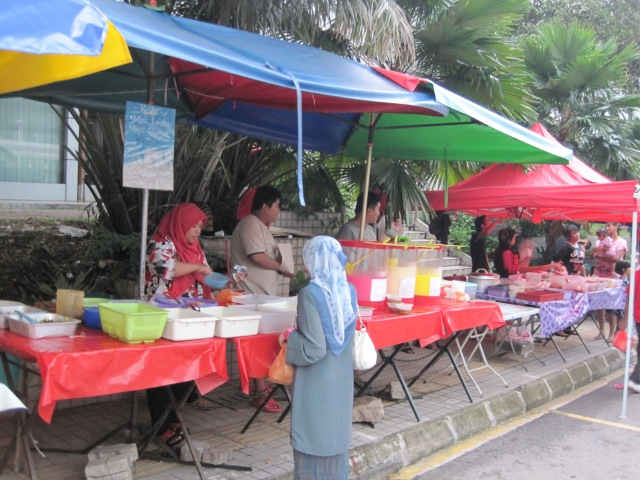Stalls at a Ramadan bazaar outside Bangsar LRT