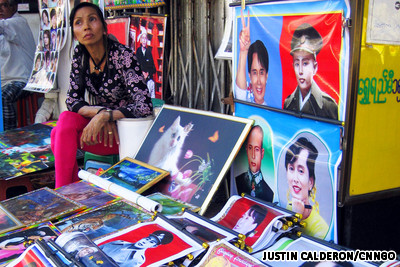 Posters of pro-democracy leader Aung San Suu Kyi being sold on the streets of Yangon