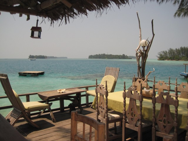 View from the seaside bar on Pulau Macan