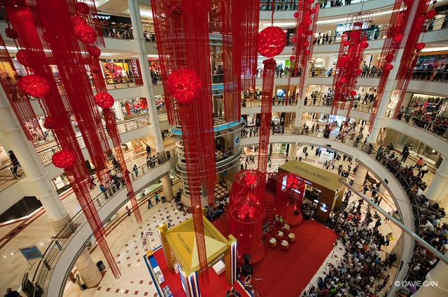 CNY decorations in Suria Mall at KLCC, located at the base of the Petronas Towers