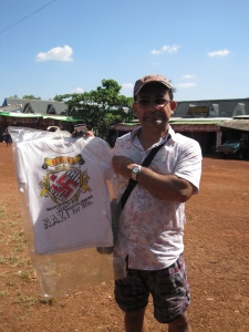 My colleague (and former study abroad advisor) with a Nazi T-shirt, in front of a Buddhist temple outside of Yangon