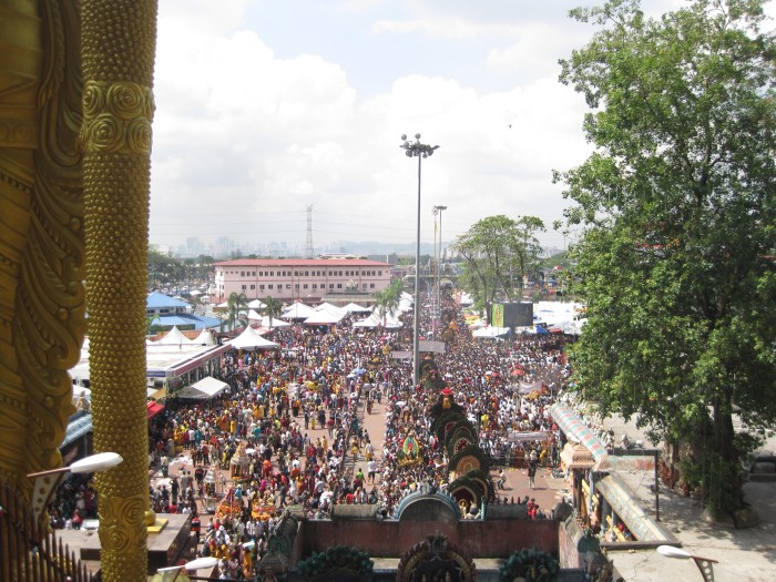 View from halfway up the 272-step staircase at the Batu Caves on Thaipusam