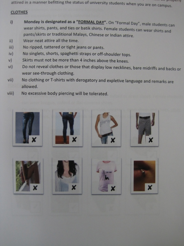 The typical dress code enforced by schools in Malaysia