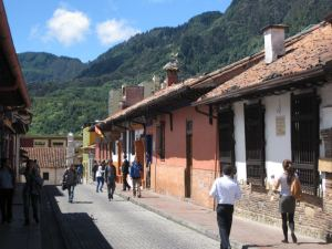 Street scene in La Candelaria, the historic center of Bogota