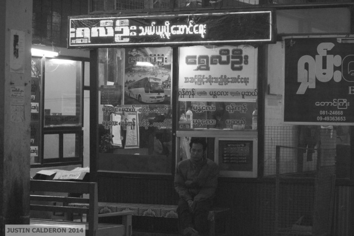 Waiting at Mandalay bus stop