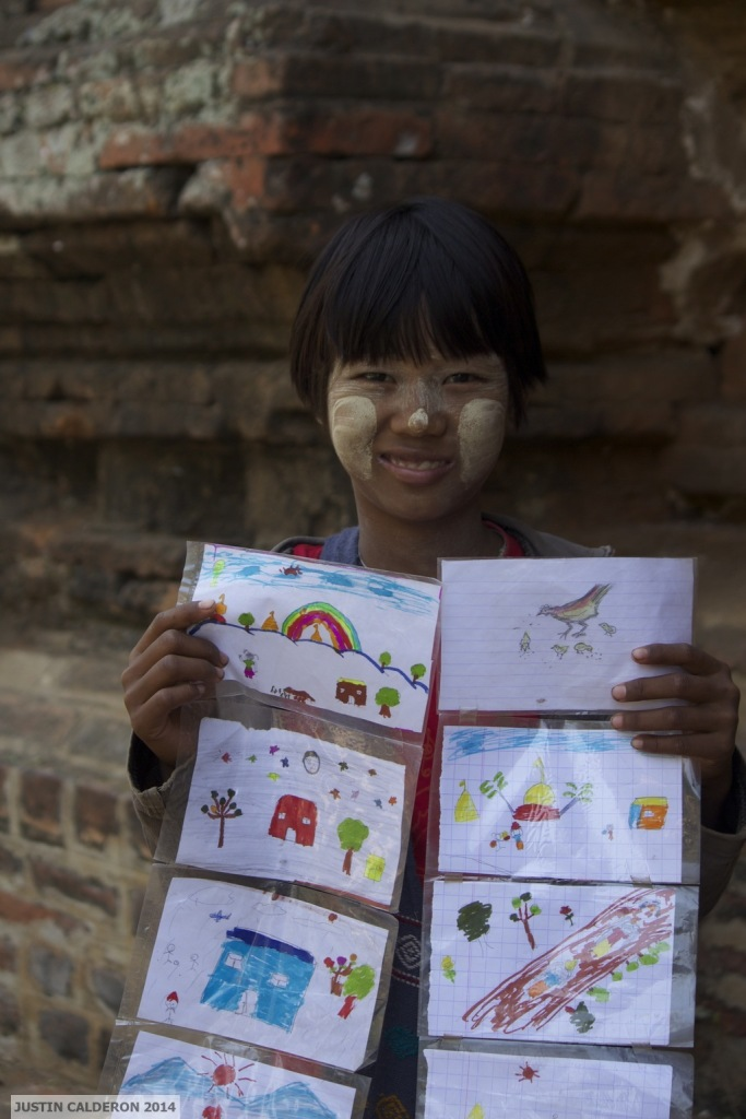 Hand-drawn postcards for sale, Bagan