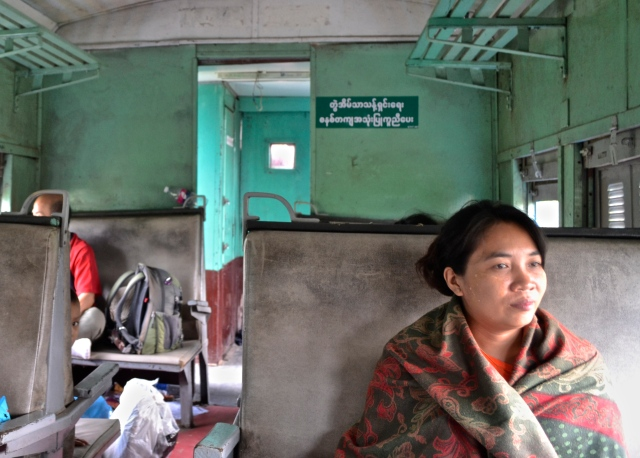 Inside of an upper class cabin on the Myanmar train to Taunggyi