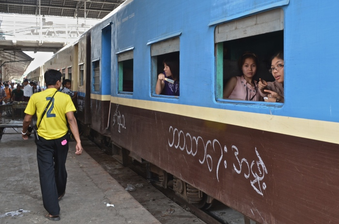 An upper class cabin of a train in the Yangon Railway Station
