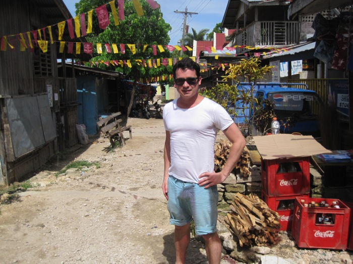 On a local street on Talicud Island, Davao, in the southern Philippines